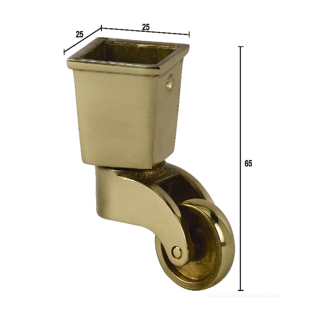 5. Наконечник квадратный, колесный для мебельной опоры, латунь.
