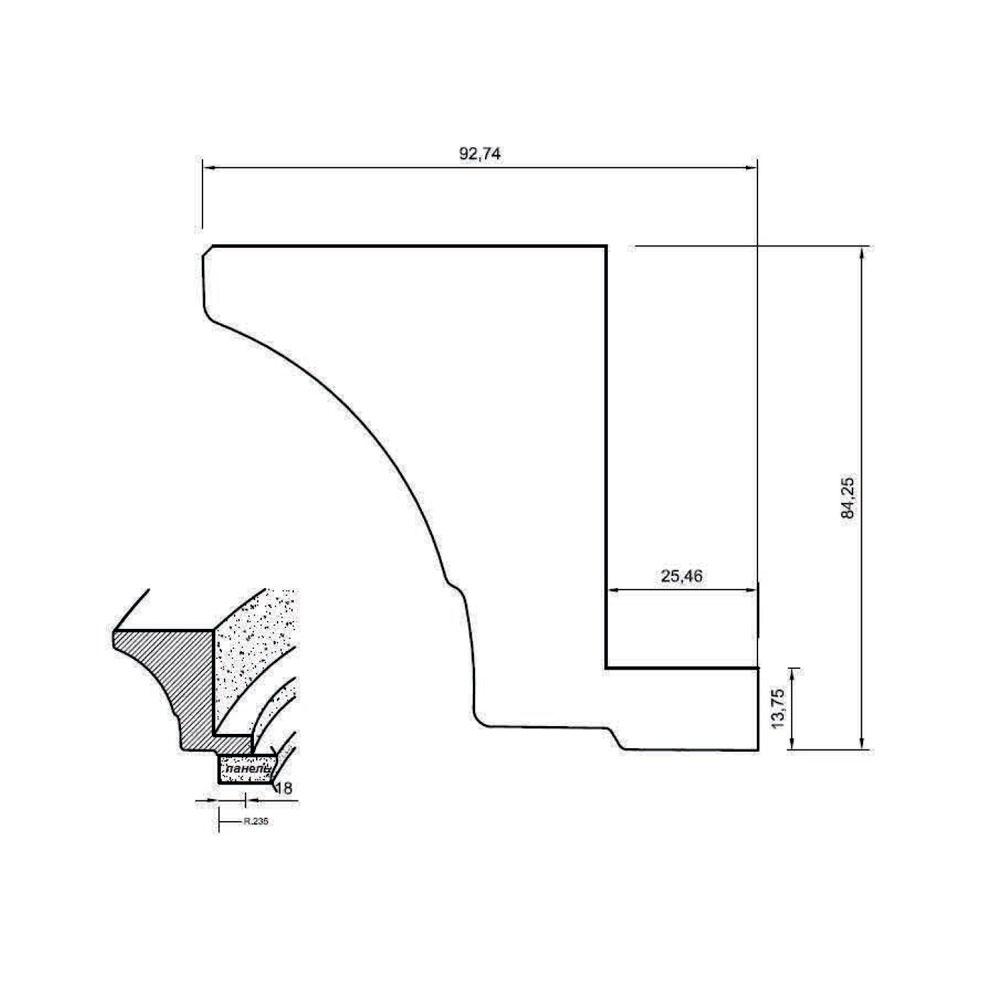 108. Карниз гнутый, R-235, верхний, МДФ. id=5619