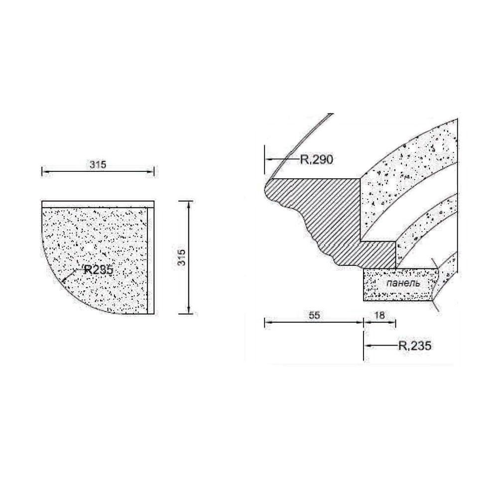 Карниз № 109 гнутый,R-235, верхний, массив абаши. id=5627