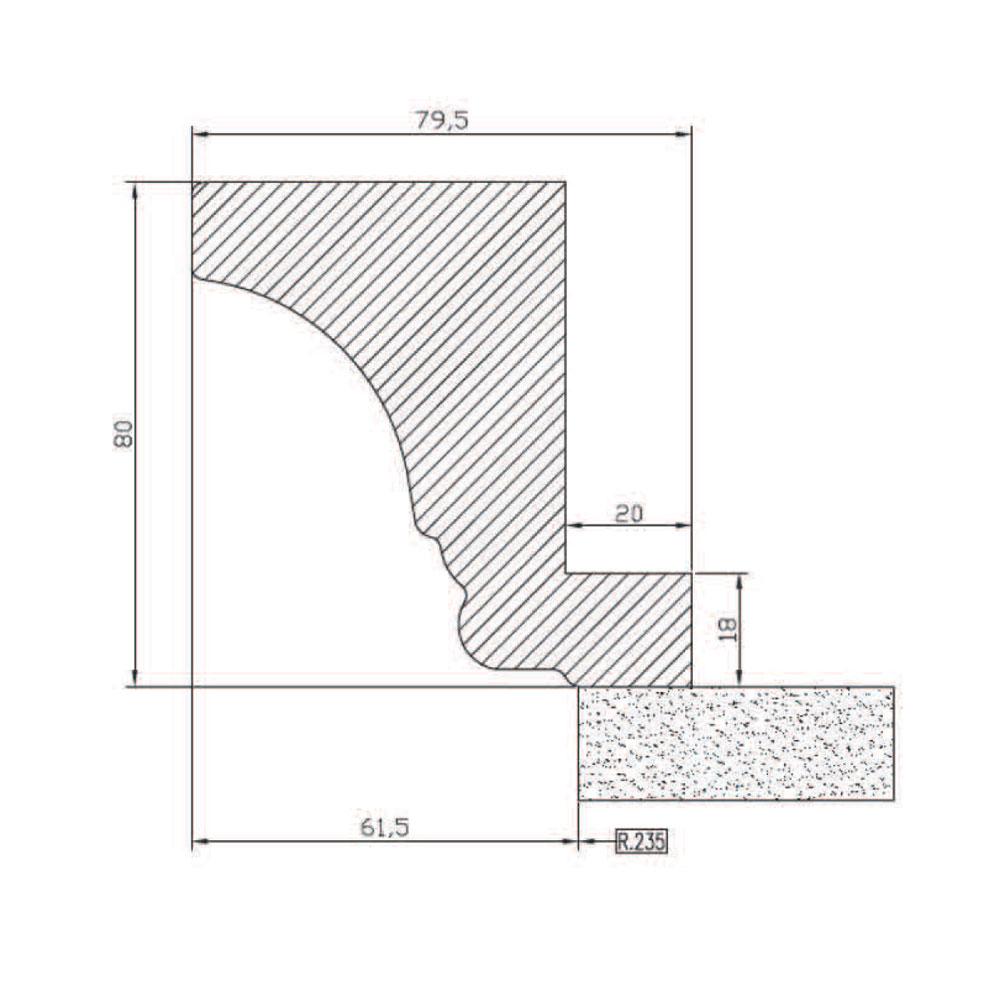 Карниз 6011, R235, гнутый верхний, МДФ. id=5605