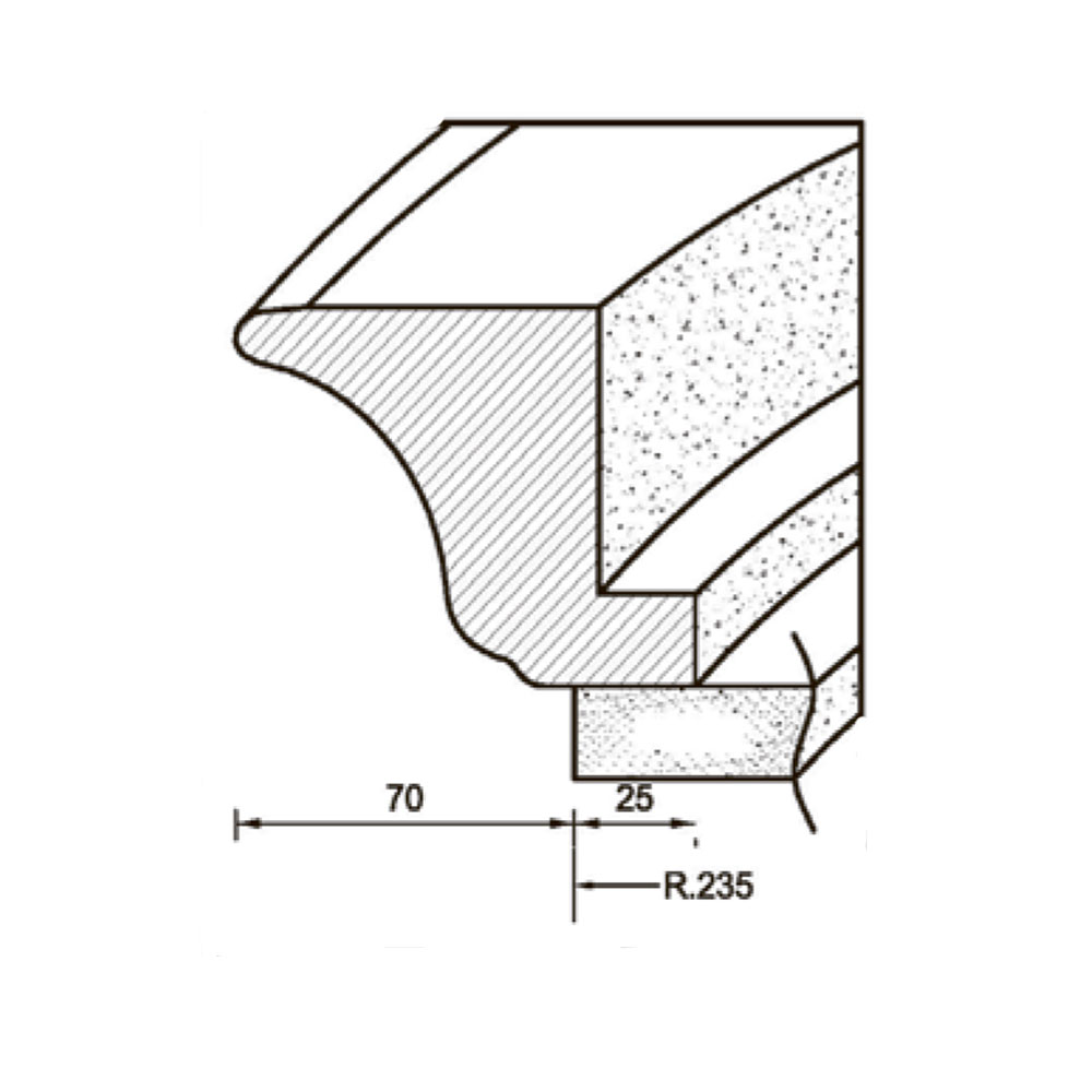 Карниз MS-1 гнутый, верхний, R-235. Массив Абаши. id=5639