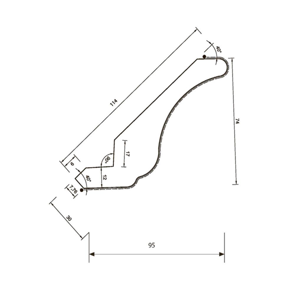 Карниз MS-1 прямой, верхний. МДФ в шпоне. id=5644