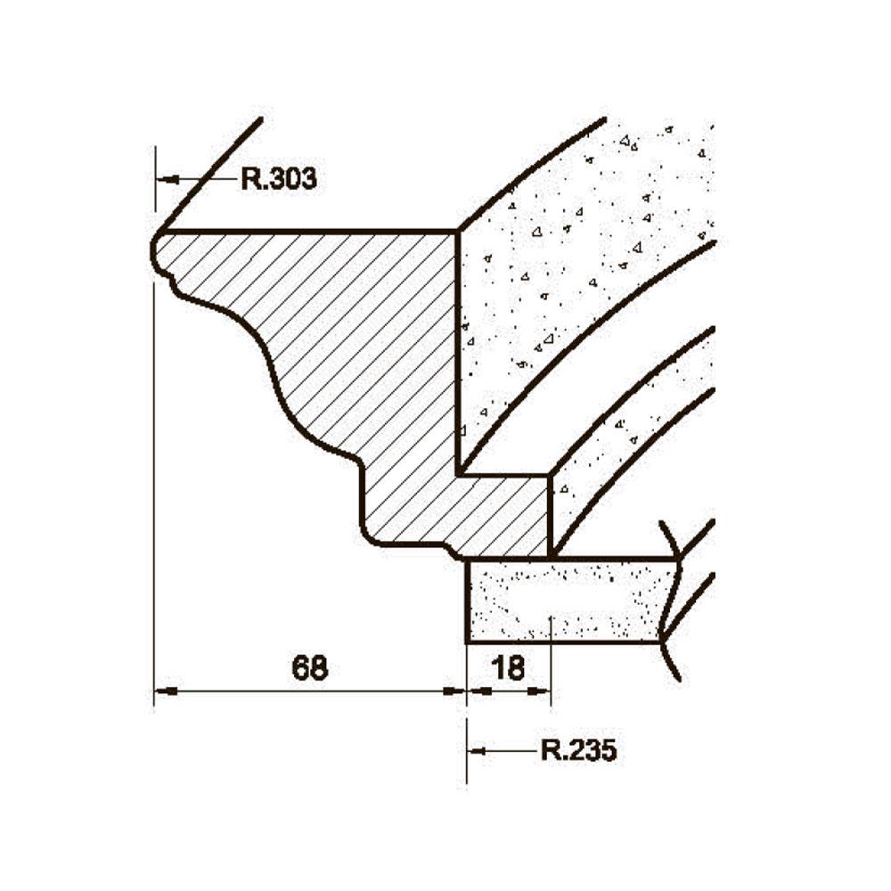 Карниз MS-2 гнутый, R-235, верхний с тиснением, массив абаши. id=5651