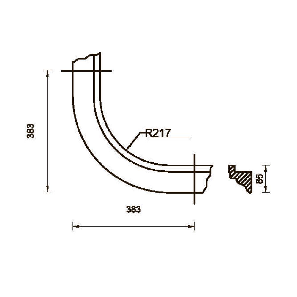 Карниз MS-2 гнутый, R-235, верхний с тиснением, массив абаши. id=5652
