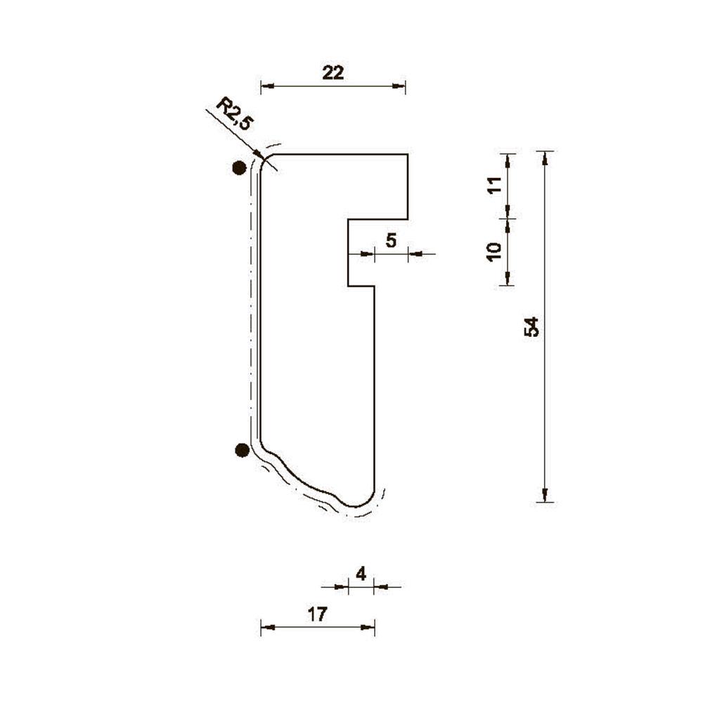Карниз MS-3 нижний, гнутый R-235. id=5660
