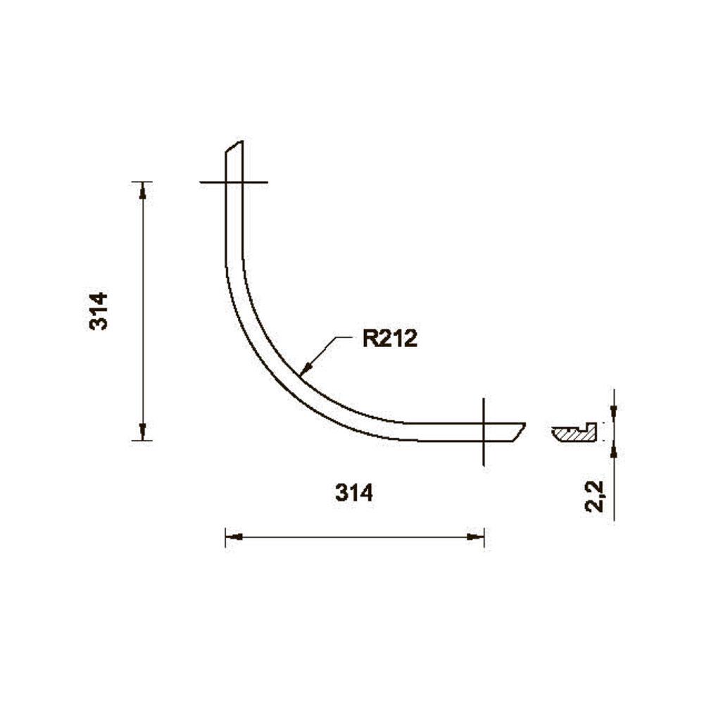 Карниз MS-3 нижний, гнутый R-235. id=5662