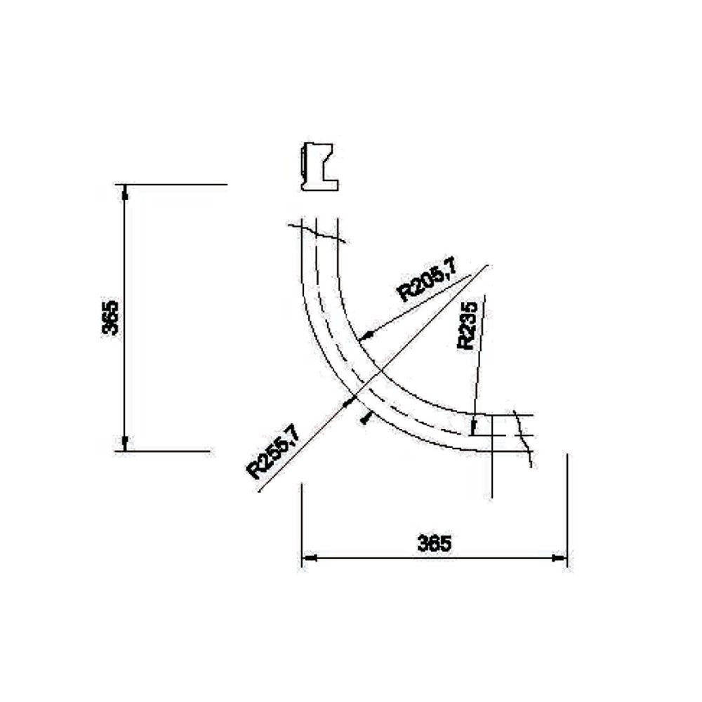 Подкарнизник 6/8 гнутый, R-235, орнамент 2, массив абаши. id=5672
