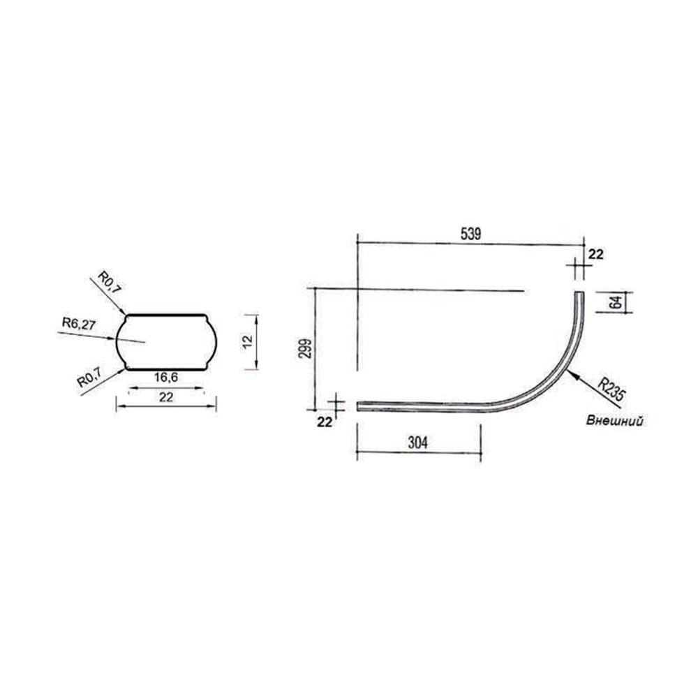 Рейка для балюстрады двусторонняя, радиусная. Массив абаши. id=4072