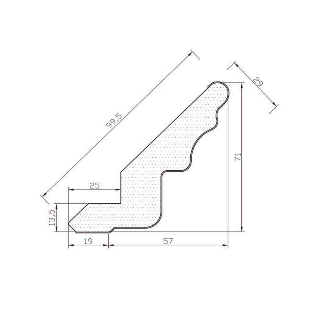 Карниз КЛАССИКА прямой, верхний. МДФ, в шпоне, грунт-покрытие. id=5587