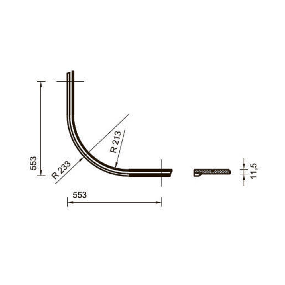 Цоколь 122, гнутый, массив абаши в шпоне тюльпье, 120 мм. id=13663