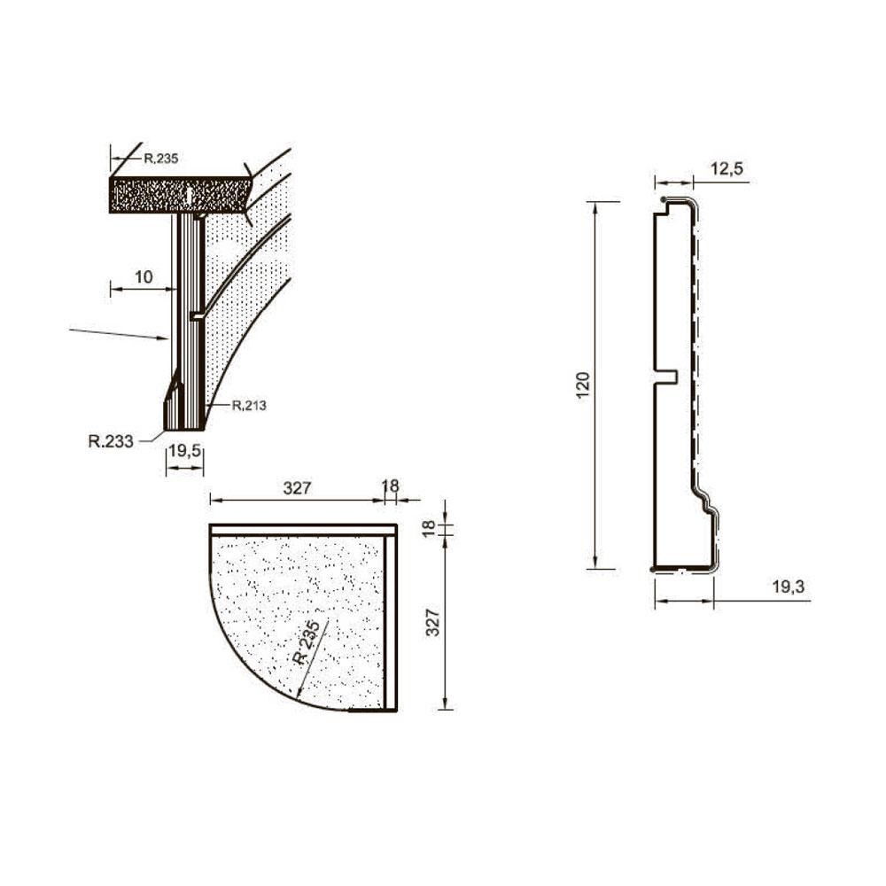 Цоколь 122, гнутый, массив абаши в шпоне тюльпье, 120 мм. id=13664