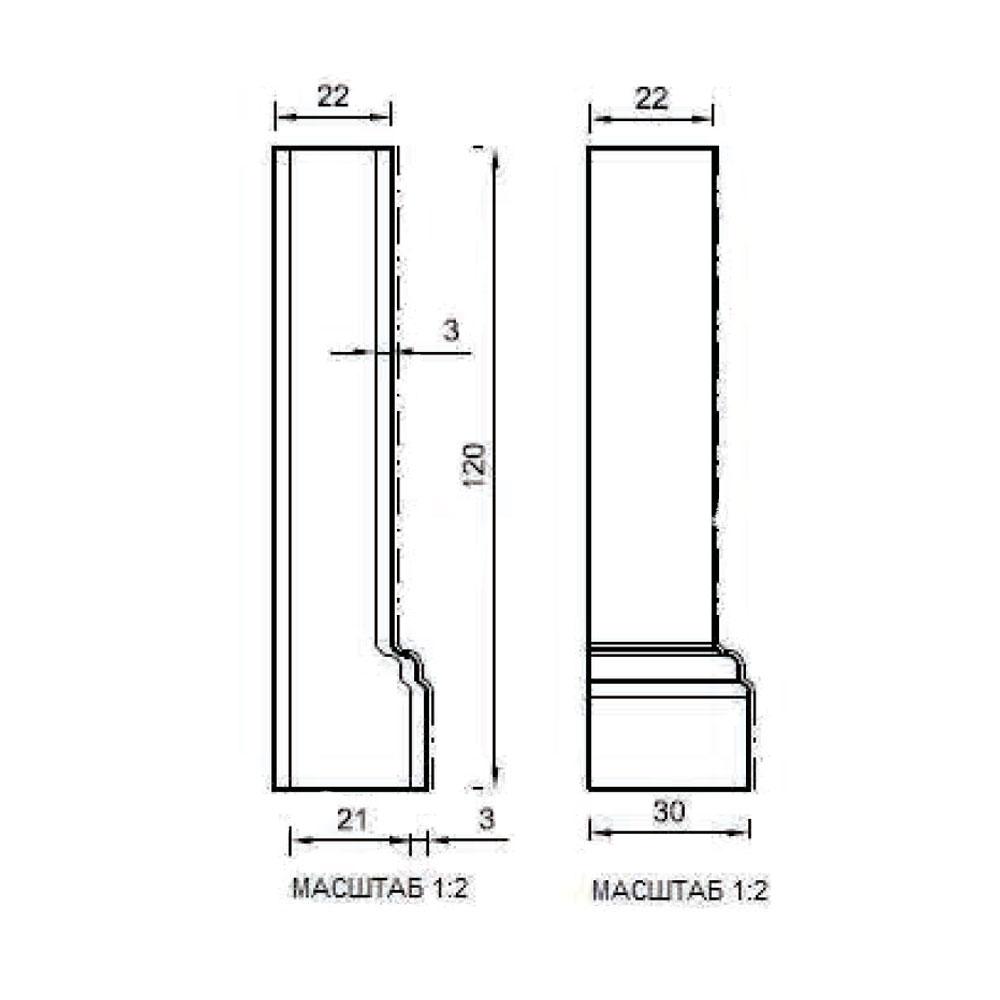 Угловой стыковочный элемент цоколя 122, внешний 90 гр. id=13658